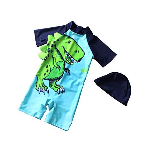 MissChild Baby Kinder Jungen Badeanzug, UV Schutz Badebekleidung Sunsuit Surfen Taucheranzug Schwimmen Anzug mit Badekappe