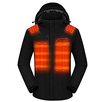 Venustas Men s Heated Jacket with Battery pack 7.4V Windproof Electric Insulated Coat with Detachable Hood