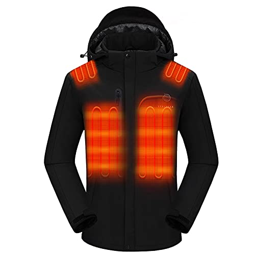 Venustas Men s Heated Jacket with Battery pack 7.4V , Windproof Electric Insulated Coat with Detachable Hood
