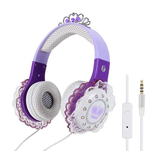 VCOM-kinderhoofdtelefoons, stereo bekabelde prinses-headsets Muziek-oortelefoons met microfoon en 92 dB volume beperkt Compatibel voor iPhone iPad-tablets Kinderen Meisjes Peuter Kleuterschool (paars)