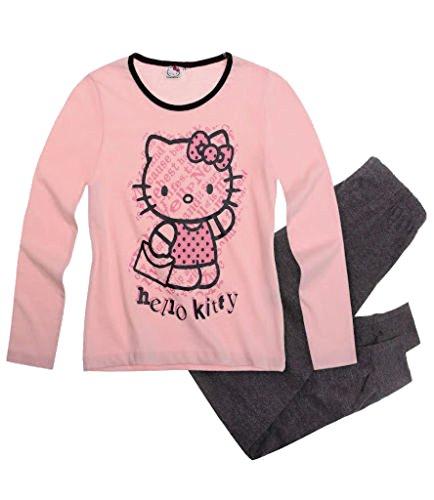 Hello Kitty Mädchen Pyjama/Schlafanzug rosé - anthrazit (140)