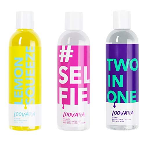Loovara Vorteilspack 3x 250ml - Gleitgel und Massageöl im günstigen 3er Set – pflegendes Gel und Öl im Bundle | pflegende und natürliche Inhaltsstoffe | für das Vorspiel, Sex und Sexspielzeug geeignet