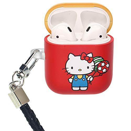 Sanrio Line AirPods Hoesje met Nek Lanyard Beschermende Harde PC Shell Band Gat Cover [Front LED Zichtbaar] Accessoires Compatibel met Apple Airpods 1 & AirPods 2, Hello Kitty Balloon