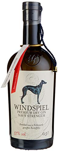 Windspiel Premium Dry Gin Navy Strength 57 % vol. 1 x 0,5 Liter - International ausgezeichneter Manufaktur Gin in geschmacksintensiver Navy Stärke aus der deutschen Vulkaneifel
