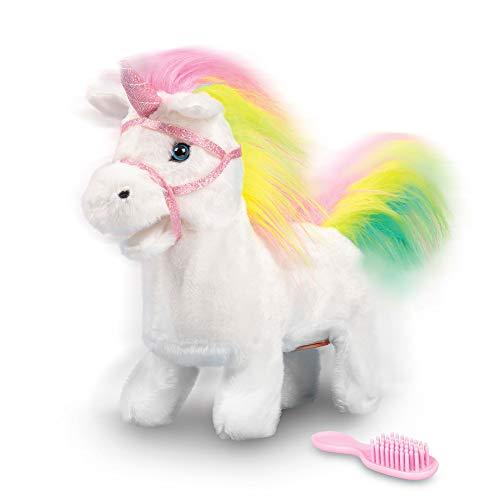 Animigos Rainbow Unicorn, biały jednorożec z tęczową kosiarką, ok. 22 cm, może biegać i wydaje magiczne dźwięky, ze szczotką, dla dzieci od 18 miesięcy