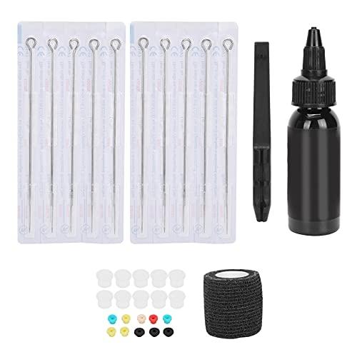 Hand Poke Tattoo Pen Kit, Professional 7RL Needle Tattoo Pigment Cup Elastic Bandage Grommet Accessory Kit for Tattoo Makeup Supplies
