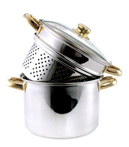 Olla para cocer al vapor con base 24 cm Ø, escurridor de verduras con