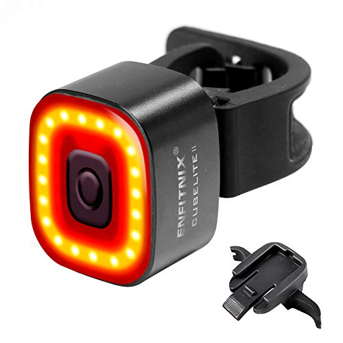 ENFITNIX テールライト 自転車 ロードバイク 軽量 自転車用リアライト テールランプ バックライト 自動点灯 USB充電式 オートライト 高輝度 LED 長時間持続 ブレーキ感応 IPX6防水 安全 (CubeLite)