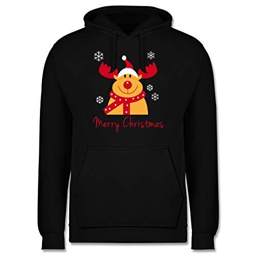 Weihnachten & Silvester - Merry Christmas Rentier - L - Schwarz - Tier - JH001 - Herren Hoodie und Kapuzenpullover für Männer