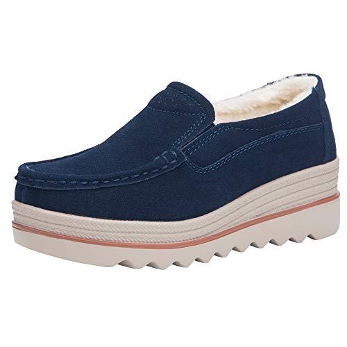 Tefamore Mocasines para Mujeres Damas Moda Aumento Grueso Plataforma Plana Cuñas Zapatos Casuales Individuales 35-42 (40 EU, Azul 01)