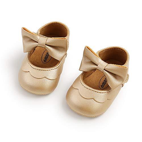 Voracale Scarpe da Principessa per Bambina Sandali da Bambina Chiusi Scarpine Battesimo Neonata Scarpe Bambina Elegante Scarpine Antiscivolo Neonato Scarpe Basse Casuali Scarpe (D'oro, 12-18 mesi)