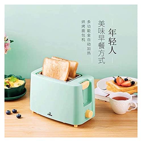 tostadora Máquina de pan de acero inoxidable Tostador eléctrico Tostado Tostado Sandwich Horno Grill 2 rebanadas Desayuno automático Máquina for hornear (Color : Green)