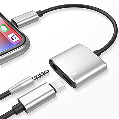 Headphone Adapter for iPhone 12 Earphone 3.5mm Jack AUX Cable Audio Adaptor Splitter for iPhone 11/8/8Plus/7 Plus/X/XS max Music Splitter Earphone Dongle Headset Cable Convertor Support All iOS-Silver by MOYAGOA