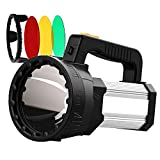 ANLOOK Spotlight Flashlight LED Rechargeable 10000mAh Large Power Super Bright High Lumens Handheld Spotlight Outdoor IPX4 waterproof Boat Flashlights with Three-Color Lens for Hunting Camping