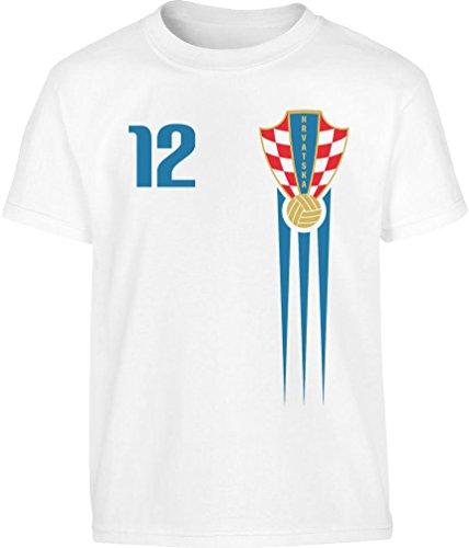 Kroatien Kinder Kleinkinder Fan Trikot EM Kleinkind Kinder Jungen T-Shirt 128 Weiß