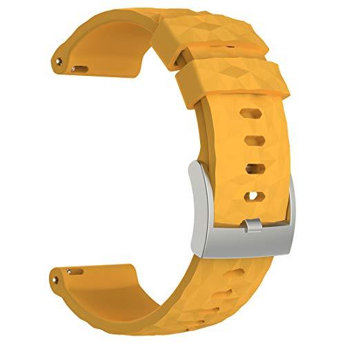 AWADUO Suunto Spartan Sport Wrist HR Baro, cinturino di ricambio in silicone per Suunto Spartan Sport Wrist HR Baro, morbido e resistente (silicone giallo)