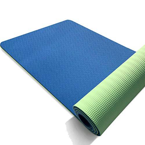 VIWIV Fitnessmatte, Zweifarbige Dicke Yoga-Türmatte 183 * 61 * 0,6 cm, Geeignet Für Yoga-Pilates-Gymnastik-Balance-Türmatte,7