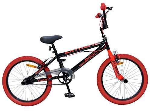 Amigo Extreme - Kinderfahrrad für Jungen - 20 Zoll - mit Handbremsen und Lenkerpolster - BMX Fahrrad - ab 5-9 Jahre - Schwarz/Rot