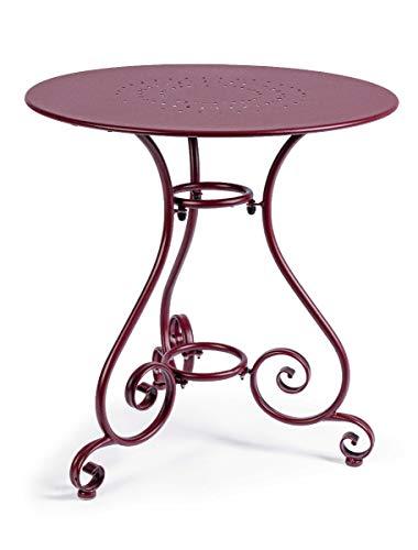 Bizzotto Tisch Etienne Bordeaux Ø70 cm rund für Innen- und Außenbereiche, Garten und Terrasse