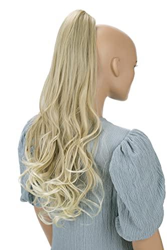 PRETTYSHOP 60cm Haarteil Zopf Pferdeschwanz Haarverlängerung Voluminös Gewellt Blond Mix H42