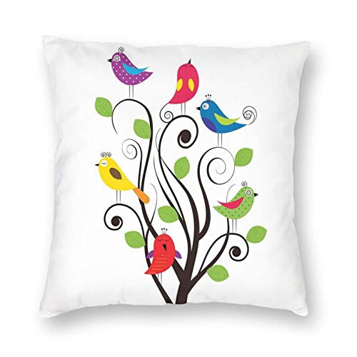 Decorative Cushion Covers with Artistic Illustration of A Spring Tree with Curly Branches and Colorful Funny Birds,for Sofa Office Decor Cotton and Linen Cushion Covers 20*20Inch