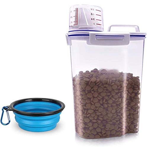 dog food containers TIOVERY Pet Food Storage Container, Small Dog Food Container Airtight Plastic Dispenser with Graduated Measuring Cup, Pourable Spout and Portable Collapsible Dog Bowl for Cats Birds Seed
