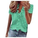Camiseta de verano de manga corta con cuello en V para mujer, con volantes y estampado sólido