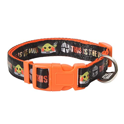 Star Wars The Mandalorian This is The Way Large Dog Collar | Orange Large Mandalorian Dog Collar | Dog Collar for Large Dogs with D-Ring, Cute Dog Apparel & Accessories for Pets