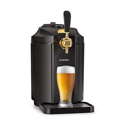 Klarstein Skal - Tirador de cerveza, Dispensador de cerveza, Tirador de cerveza para casa, 5L, Refrigerador termoeléctrico, Indicador LED, Cartuchos CO², Adaptador, Acero inoxidable, Negro