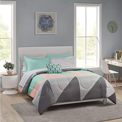 Bed In A Bag Bedding Set and Ottoman Bundle, King, Grey & Teal