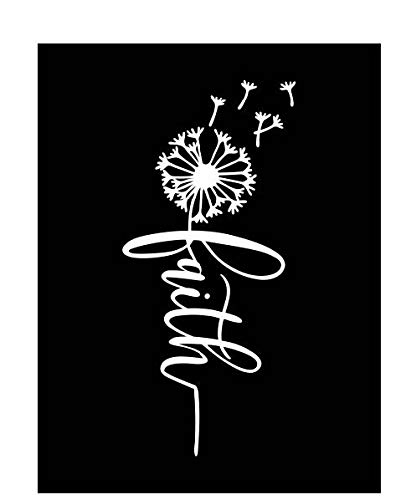 Faith Dandelion Coffee Vinyl Decal | White | Made in USA by Foxtail Decals | for Car Windows, Tablets, Laptops, Water Bottles, etc. | 2.1 x 4.5 inch