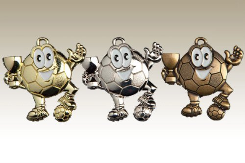 pokal-fabrik.de Kindermedaille 9147 Silber - Medaillen für Kinder/Kindergeburtstag Fußball