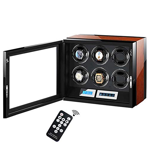 YZSHOUSE Automático Cajas Giratorias para Relojes 6 Relojes Motor Silencioso LCD Digital Toque Monitor&Remoto Controlar,LED Iluminación Ajustable Reloj Almohadas