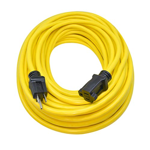 Clear Power 100 ft Heavy Duty Outdoor Extension Cord 12/3 SJTW, Yellow, Water & Weather Resistant Flame Retardant, 3 Prong Grounded Plug, DCOC-0146-DC