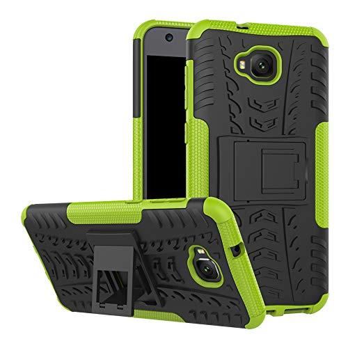 LFDZ ASUS Zenfone 4 Selfie Funda, Soporte Cáscara de Doble Capa de Cubierta Protectora Heavy Duty Silicona híbrida Caso Cover Funda para ASUS Zenfone 4 Selfie / ZD553KL Smartphone,Verde