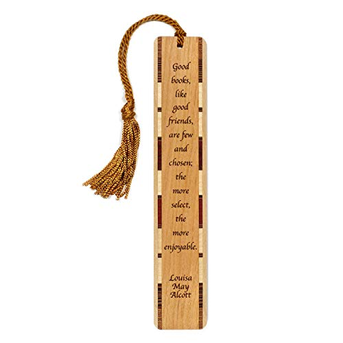 Author - Louisa May Alcott Quote About Books and Friends Engraved Wooden Bookmark with Tassel Search B071L3X4PL for Personalized Version