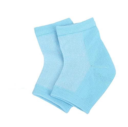 Lot de 2 paires de chaussettes à talon en gel souple et ventilé pour peau sèche, craquelée et hydratante, jour et nuit - Bleu