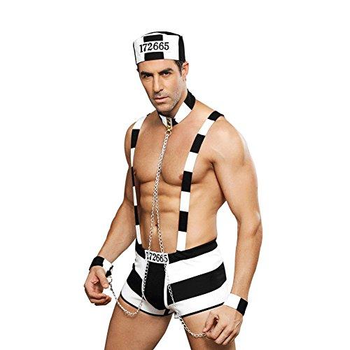 Honiee Mens 4PCS Prisoner Costume Outfit
