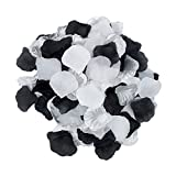 2NDTONONE 900pcs White Silver Black Artificial Silk Rose Petals Vase Table Scatter Confetti Aisle Runner Wedding Party Events Home Decoration