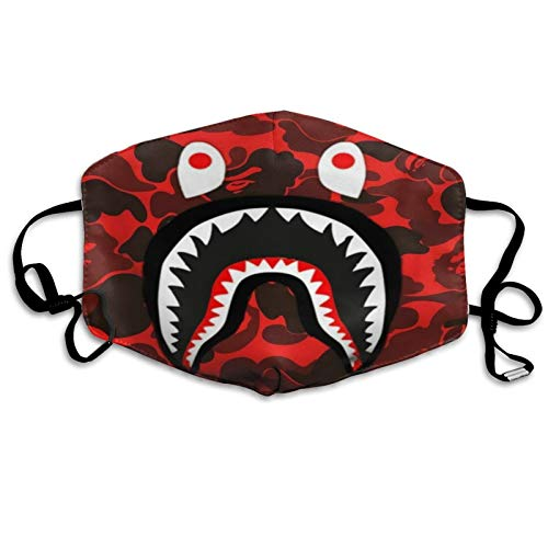 CUDEVS Ba-pe Camo Shark Windproof Washable Reusable Breathable Fashion Dust Mouth Cover Protect Comfy Breathable Outdoor Face Cover for Men and Women