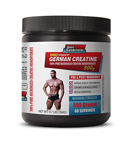Muscle Mass Pills for Men Best Seller - German CREATINE - 100% Pure MICRONIZED CREATINE MONOHYDRATE - Creatine for Muscle Growth Pills - 1 Can 300 Grams (60 Servings)