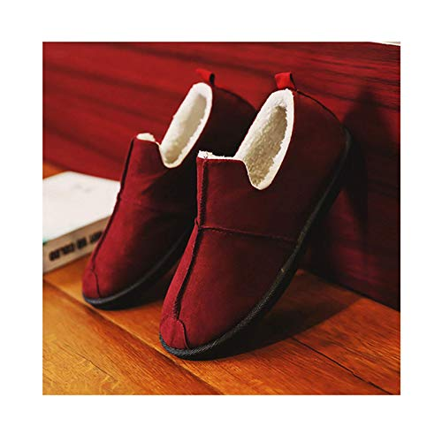 SLM-max Zapatillas Unisex,Nuevas de Felpa peludas para Mujer a la Moda, Zapatos Planos cálidos Suaves para Mujer, Zapatos cómodos Casuales, Mocasines de Invierno para Mujer, rojo-39