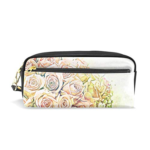 Pencil Case Stylish Print Rose Flower Bouquet De Fleurs Floral Petal Art Pattern Large Capacity Pen Bag Makeup Pouch Durable Students Stationery Two Pockets with Double Zipper