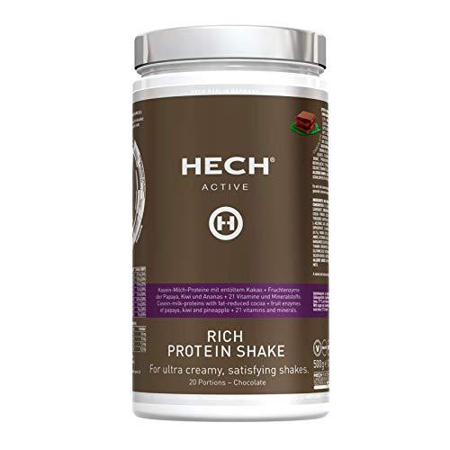 HECH ACTIVE Rich Protein Shake Schokolade, Eiweißpulver für Muskelaufbau, mit Whey-Proteinen, Vitaminen & Mineralstoffen, extra cremige Konsistenz, 500 g