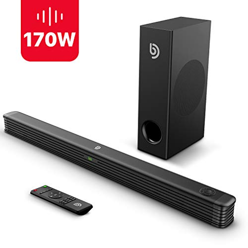 Soundbar mit Wireless Subwoofer 2.1 Kanal,BOMAKER 170W Bluetooth 5.2 DSP Technologie Tiefe Bass Lautsprecher mit AUX,USB,Koaxiale,Optischer Anschluss für TV,Heimkino,Party-Schwarz