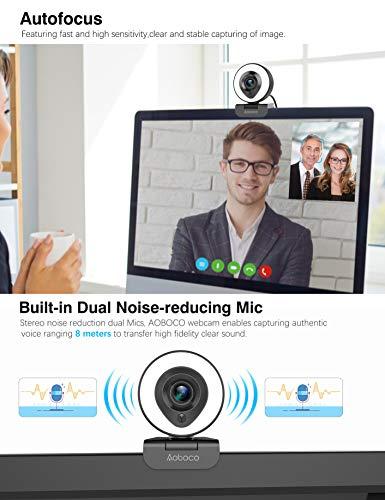 Aoboco 1080P Webcam mit Ringlicht, HD Facecam mit Mikrofon, Stream PC Webkamera zum Streamen von Video Chat Mac Windows Laptop Konferenzspiele Twitch Xbox One Skype YouTube OBS Xsplit