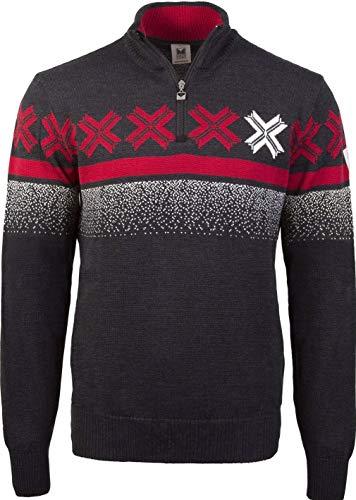 Dale of Norway Men's Masculine Alpine Ski Champion Åre Norwegian Sweater of 100% Skinsoft Merino Wool (X-Large Grey