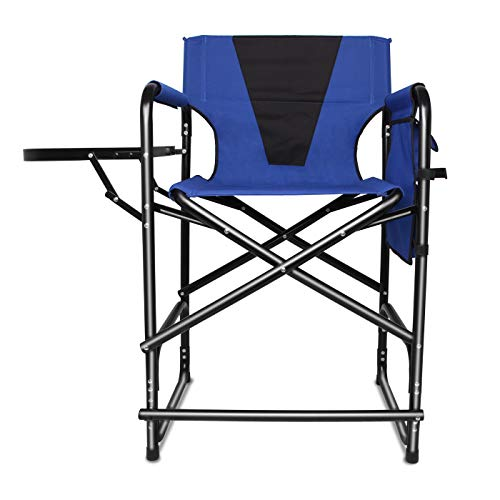 Tall Director's Chair Folding Portable Camping Chair, 24inch Seat Height Makeup Artist Collapsible Chair with Side Table Storage Bag Footrest, Supports 300LBS