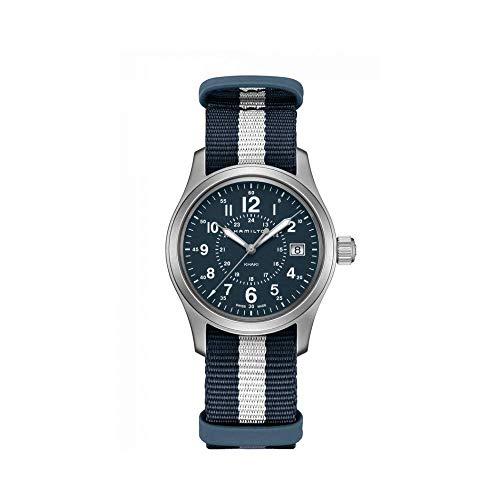 Hamilton H68201043 Khaki Field - Reloj de cuarzo para hombre, diseño de rayas, color azul y blanco