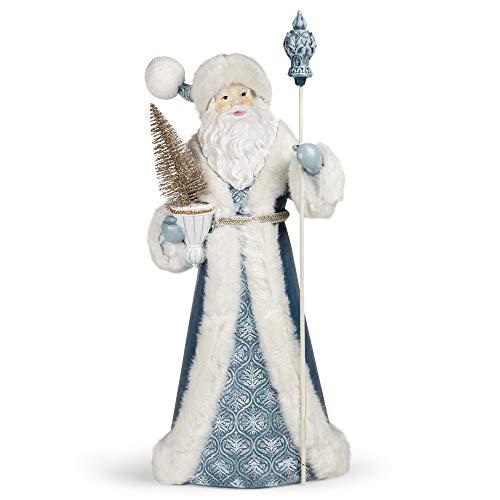 Roman 133166 Blauer Weihnachtsmann mit Stab und weißen Relief-Details, 57,1 cm, mehrfarbig